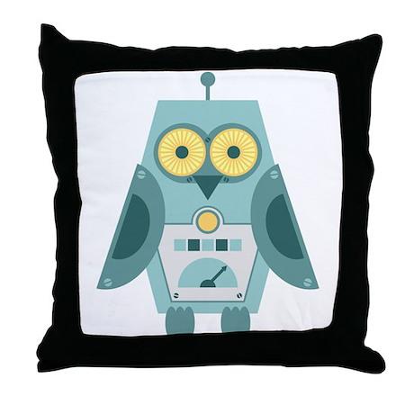 Owl Robot Throw Pillow