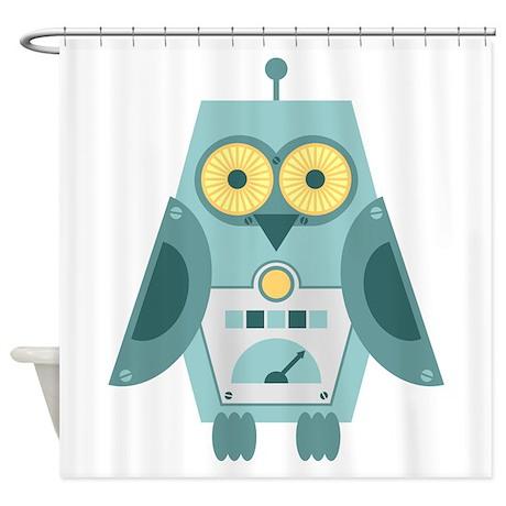 Owl Robot Shower Curtain