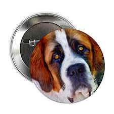"St Bernard Dog Photo Painting 2.25"" Button"