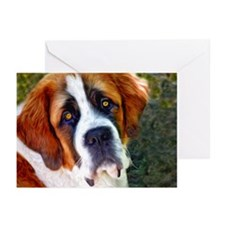 St Bernard Dog Photo Painting Greeting Cards (Pk o
