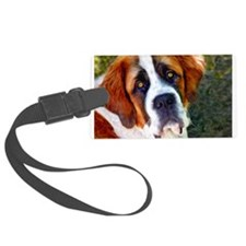 St Bernard Dog Photo Painting Luggage Tag