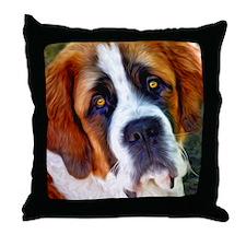 St Bernard Dog Photo Painting Throw Pillow