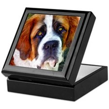 St Bernard Dog Photo Painting Keepsake Box