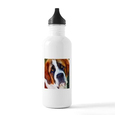St Bernard Dog Photo Painting Stainless Water Bott