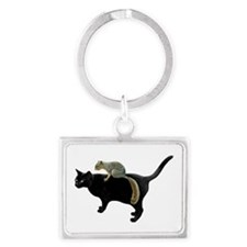Squirrel on Cat Landscape Keychain