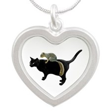 Squirrel on Cat Silver Heart Necklace