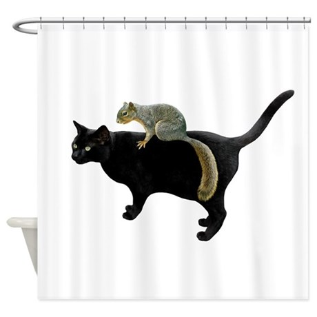 Squirrel On Cat Shower Curtain By Catsclips
