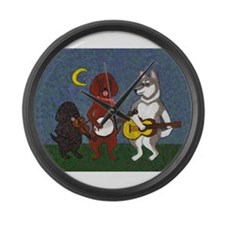 Country Music Dogs Large Wall Clock