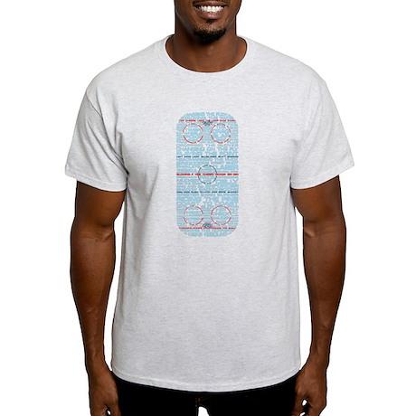 Hockey Rink Typography Design Light T-Shirt