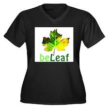 Cute Beliefs Women's Plus Size V-Neck Dark T-Shirt