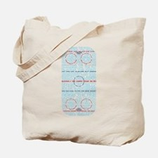 Hockey Rink Typography Design Tote Bag