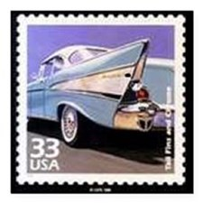"57 Chevy Square Car Magnet 3"" x 3"""