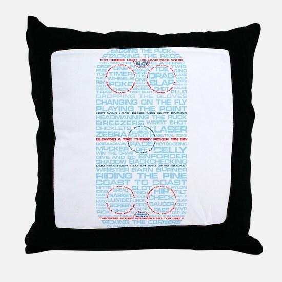Hockey Rink Typography Design Throw Pillow