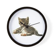 """Cute Tabby Kitten """"Meow"""" Wall Clock"""