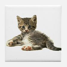 "Cute Tabby Kitten ""Meow"" Tile Coaster"