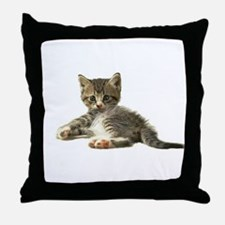 """Cute Tabby Kitten """"Meow"""" Throw Pillow"""