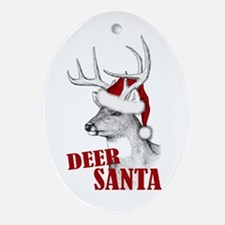 Deer Santa Ornament (Oval)