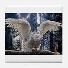 Woody Snow Owl Tile Coaster