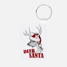 Deer Santa Aluminum Photo Keychain