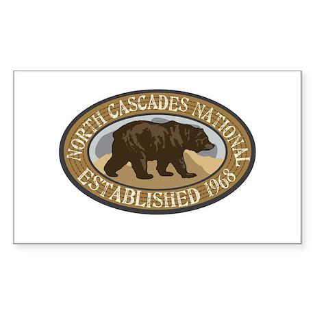 North Cascades Brown Bear Badge Sticker (Rectangle