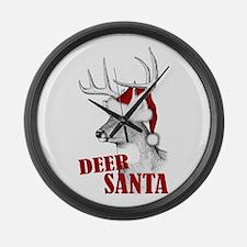 Deer Santa Large Wall Clock