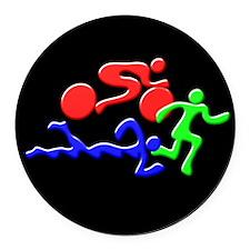 Triathlon Color Figures 3D Round Car Magnet