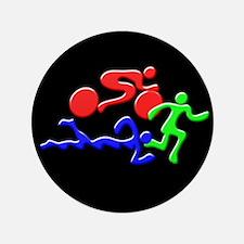 """Triathlon Color Figures 3D 3.5"""" Button"""