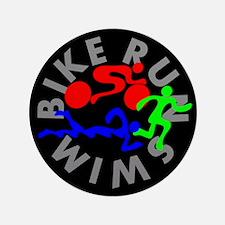 """Triathlon Color Figures FLAT 3.5"""" Button"""