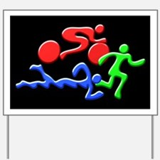 Triathlon Color Figures 3D Yard Sign