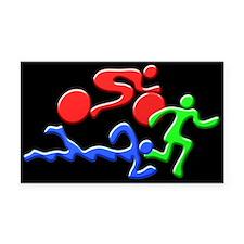 Triathlon Color Figures 3D Rectangle Car Magnet