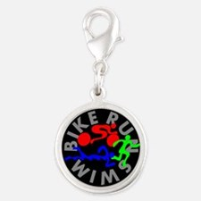 Triathlon Color Figures FLAT Silver Round Charm