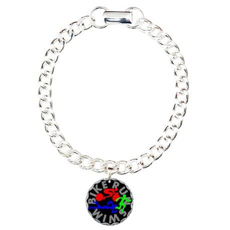 Triathlon Color Figures FLAT Charm Bracelet, One C