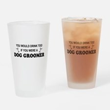 Cute Occupations dog grooming Drinking Glass