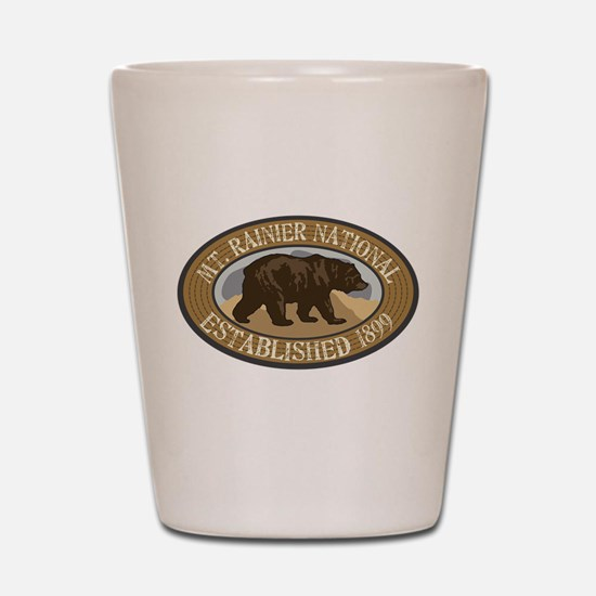 Mt. Rainier Brown Bear Badge Shot Glass