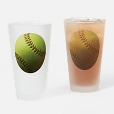Yellow Softball Drinking Glass