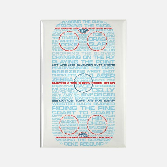 Hockey Rink Typography Design Rectangle Magnet