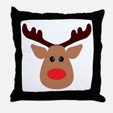 Christmas Red Nosed Reindeer Throw Pillow