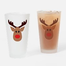 Christmas Red Nosed Reindeer Drinking Glass