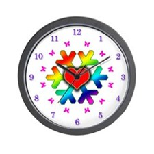 Emma's Rainbow Snowflake Wall Clock