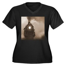 Christmas Train 1 Women's Plus Size V-Neck Dark T-
