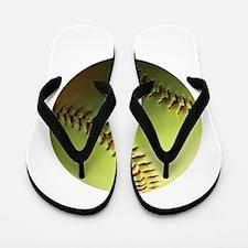 Yellow Softball Flip Flops