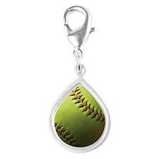 Yellow Softball Silver Teardrop Charm
