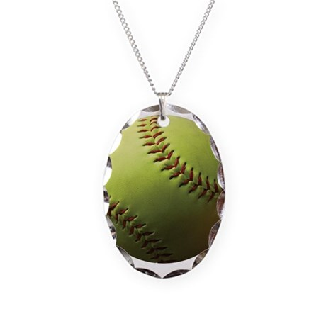 Yellow Softball Necklace Oval Charm