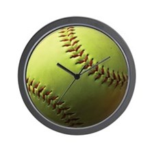 Yellow Softball Wall Clock
