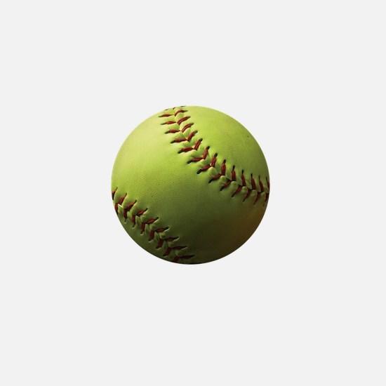 Yellow Softball Mini Button
