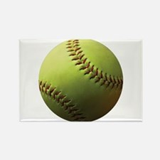 Yellow Softball Rectangle Magnet