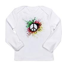 Paint Splatter Peace Sign Long Sleeve Infant T-Shi