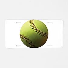 Yellow Softball Aluminum License Plate