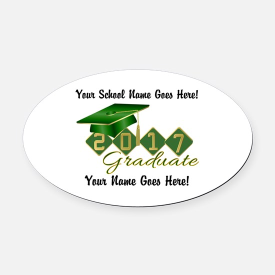 Graduate 2017 Green Gold Oval Car Magnet