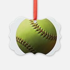 Yellow Softball Ornament